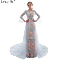 New Long Sleeves A Line Photography Evening Dresses 2018 Real Photo Flowers Sequined Fashion Evening Gown 26652