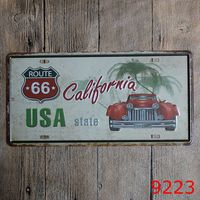 USA STATE ROUTE 66 Tin Signs Metal License Plate Antique Metal Tin Painting Pub License plate 15*30CM