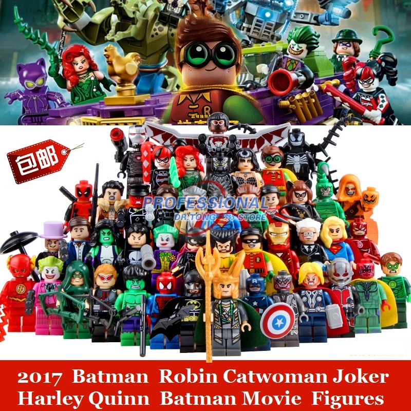 2017 Batman Movie Figures Super Heroes Robin Catwoman Joker Harley Quinn Building Glam Metal Batman Block Mini Toys loz dc comics super heroes mini diamond building block batman