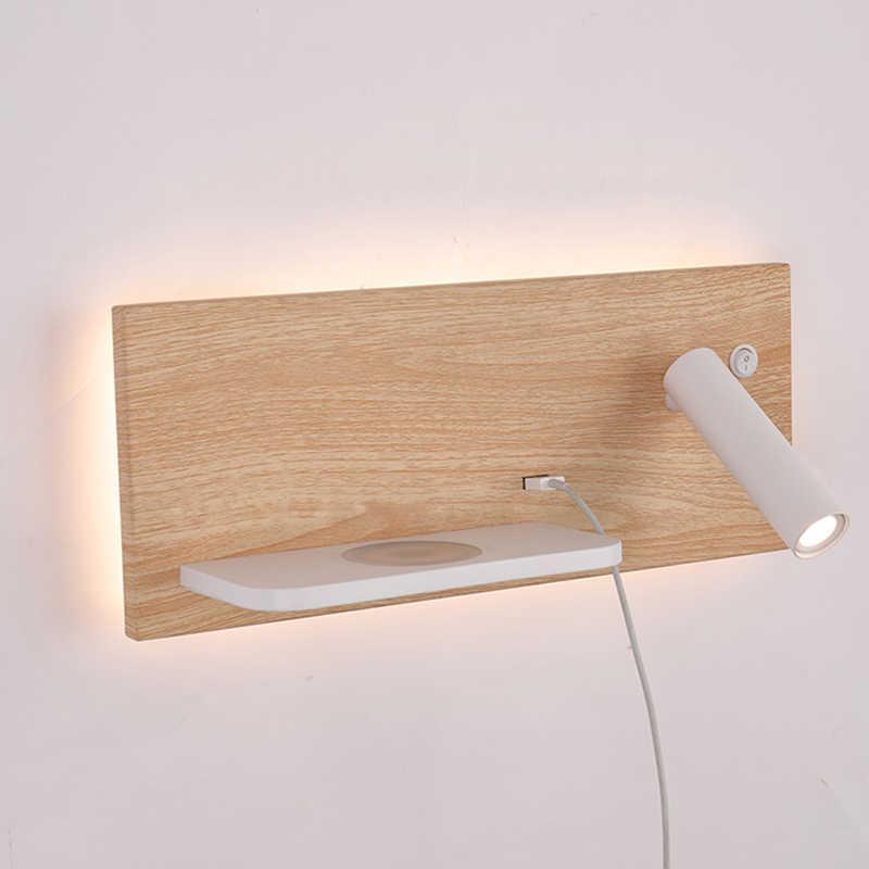 ZEROUNO yatak odası telefonu kablosuz şarj raf duvar ışıkları otel başucu başlık led okuma aydınlatma USB armatür lambası arkadan aydınlatmalı