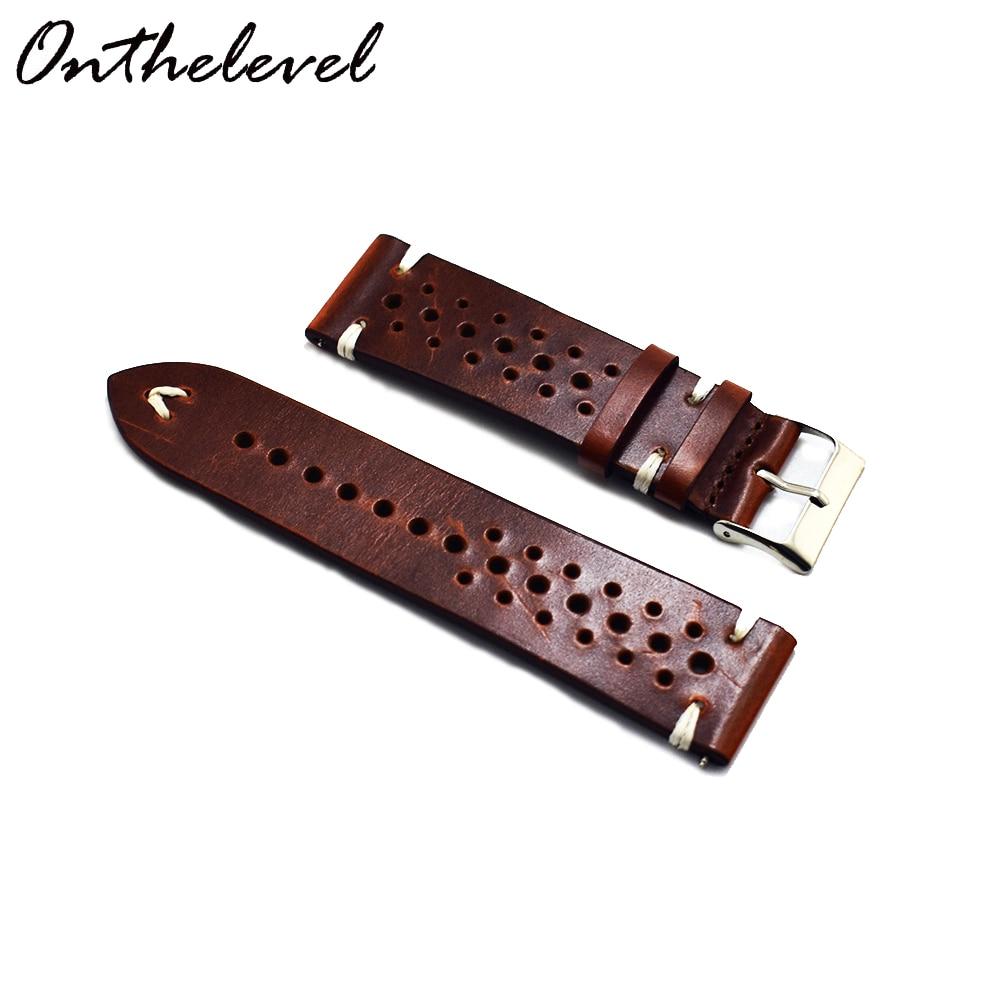 Handmade Vintage Leather Strap Watch Band Watch Accessories Bracelet 18mm20mm 22mm Dark Red White/black Line Watchband