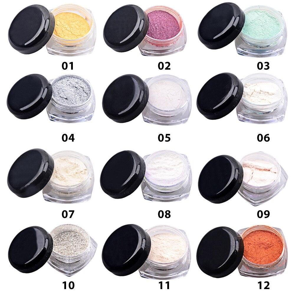12pcs Colorful Mirror Chrome Effect Nails Powder