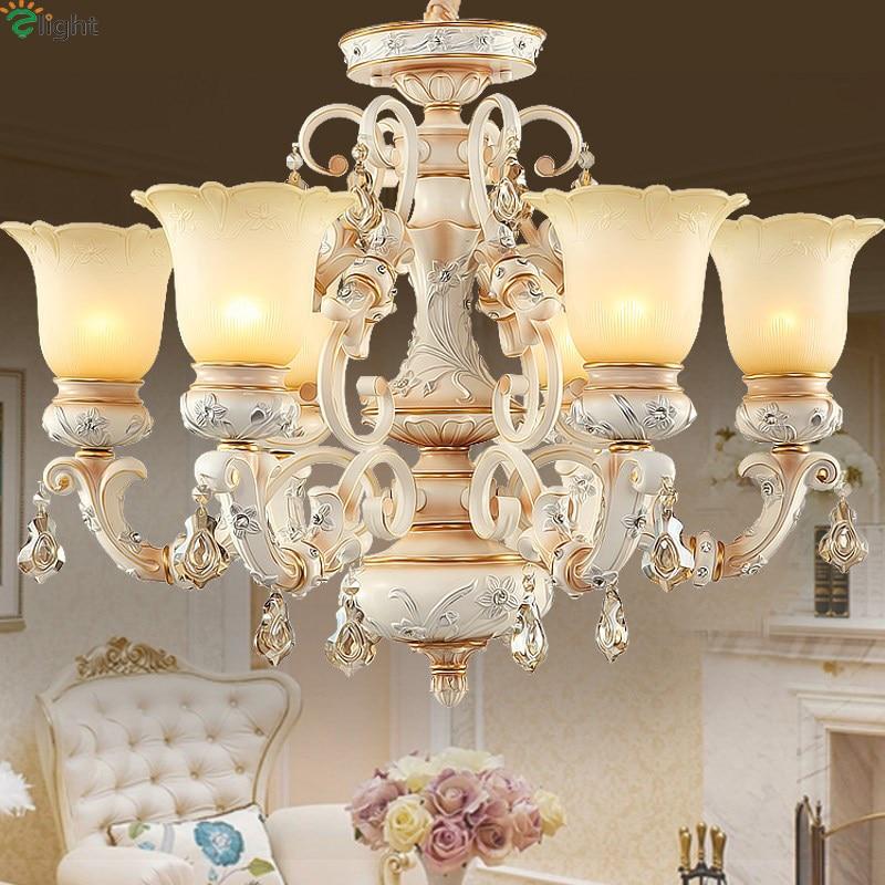 Europe Retro Lustre Crystal Glass Led Chandeliers Novelty Resin Living Room Led Chandelier Lighting Led Hanging