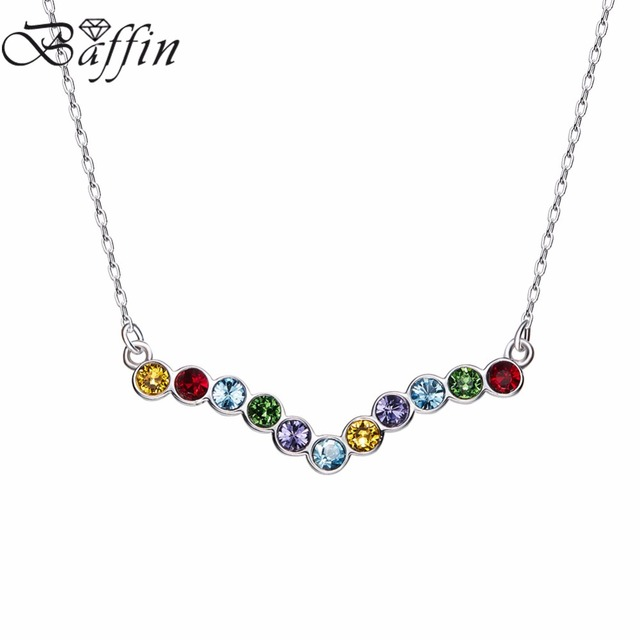 9b1186530d5b3a BAFFIN 2017 Crystals From Swarovski Jewelry 925 Sterling Silver V Shaped  Chain Necklace For Women Joyas