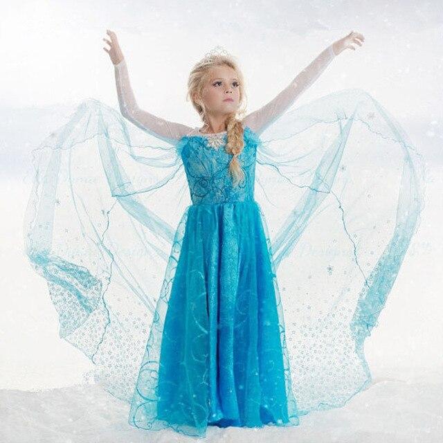New Spring Summer Kids Girl Elsa Princess Dress Children Girl Cartoon Cosplay Dress Anna party Costume Fantasia Infantis Vestido