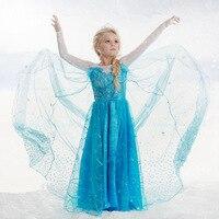 New Spring Summer Kids Girl Elsa Princess Dress Children Girl Cartoon Cosplay Dress Anna Party Costume