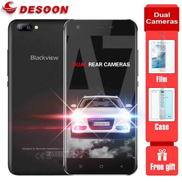 In Stock Blackview A7 Smartphone Android 7.0 MT6580A Quad Core Mobile Phone 1GB RAM 8GB ROM Dual back camera Unlocked Cell Phone