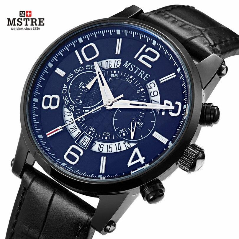 2016 Men s Wrist watches Luxury Brand Genuine Leather Strap Quartz Calendar Watch 24 Hours Function