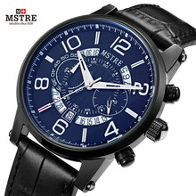 2017 Men's Wrist watches Luxury Brand Genuine Leather Strap Quartz Calendar Watch 24 Hours Function Sport Watches female watch