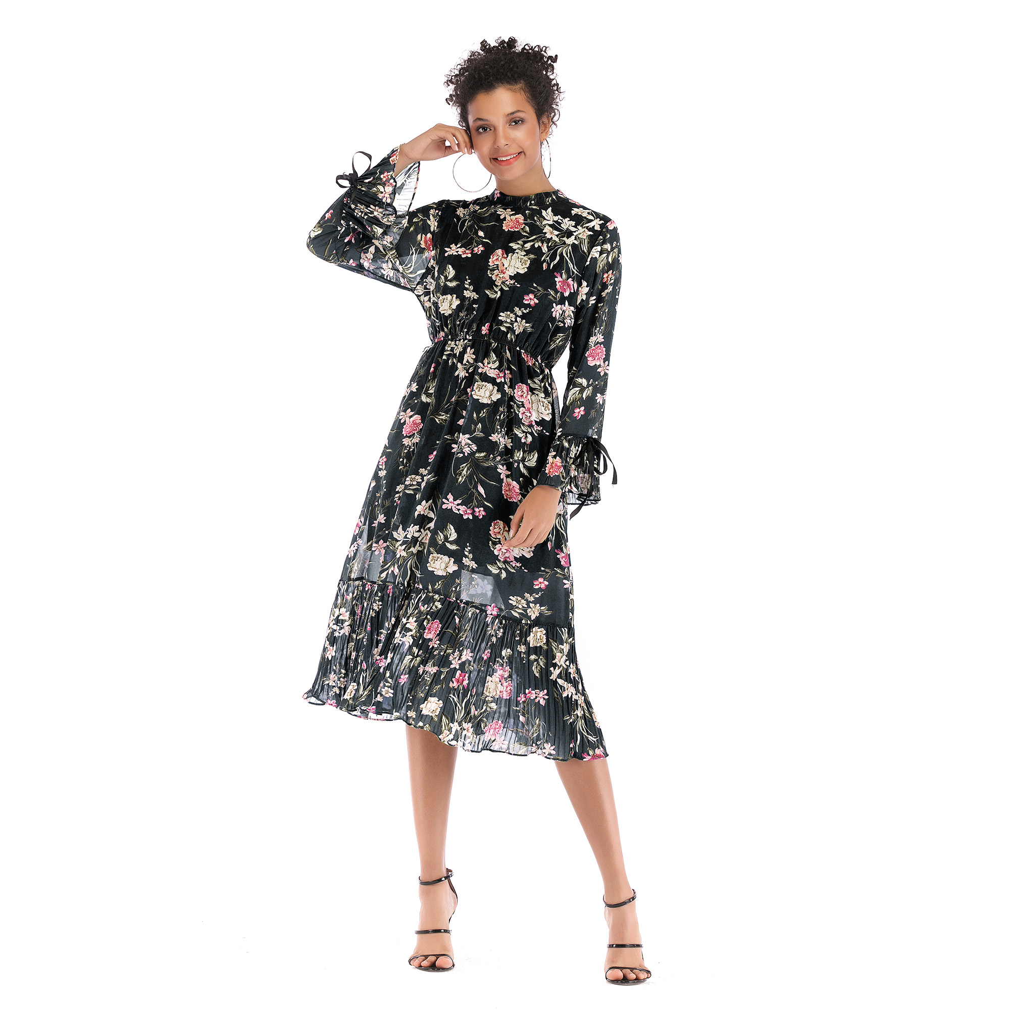 VZFF Multicolor Party Chiffon round neck flare sleeve pleated floral dress floral large swing dress 2019 Autumn women dress in Dresses from Women 39 s Clothing