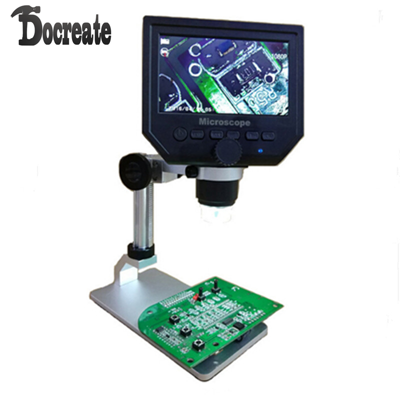 G600 Digital 1-600X 3.6MP 4.3inch HD LCD Display Microscope Continuous Magnifier with Aluminum Alloy Stand Upgrade Version 600x portable 4 3inch hd oled display lcd digital video microscope magnifying glass with 8 led light