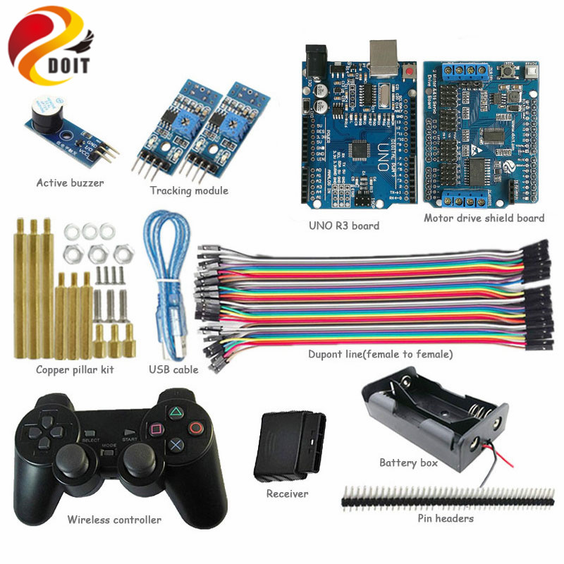 UNO Starter Kit for Arduino Project with PS2 Controller, UNO Board, Motor Drive Shield Board, Tracking Module, Active Buzzer