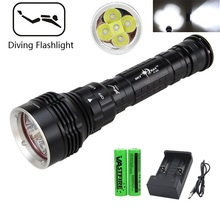 2500 Lumens Diving For Flashlight Torch 5*T6 Scuba Dive torch 200M Underwater Waterproof Tactical LED Flashlights Lantern lamp xml t6 l2 powerful battery flashlight diving professional portable dive torch underwater illumination waterproof flashlights