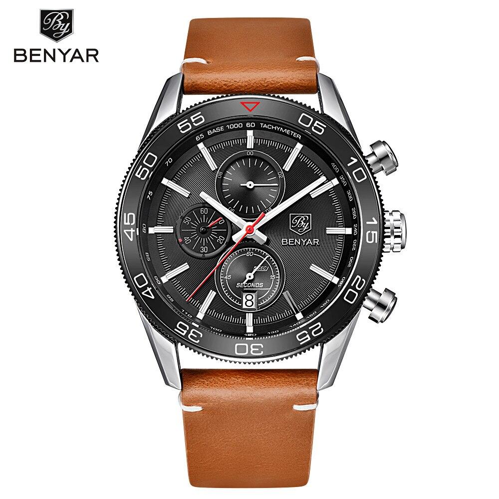 BENYAR Fashion Business Men Luxury Brand Quartz Watch Mens Waterproof Sport Chronograph Watches Clock Male relogio masculino fashion business men