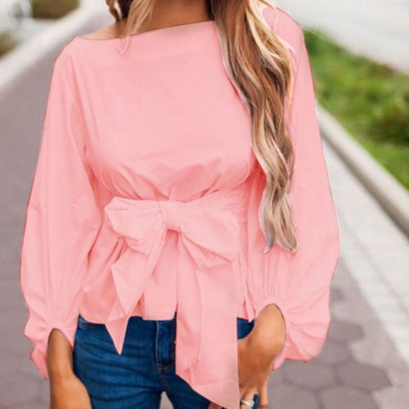 US Women Ladies Long Sleeve Bowknot Waist Tie Lantern Sleeve Solid O-Neck Fashion Casual   Blouse     Shirts