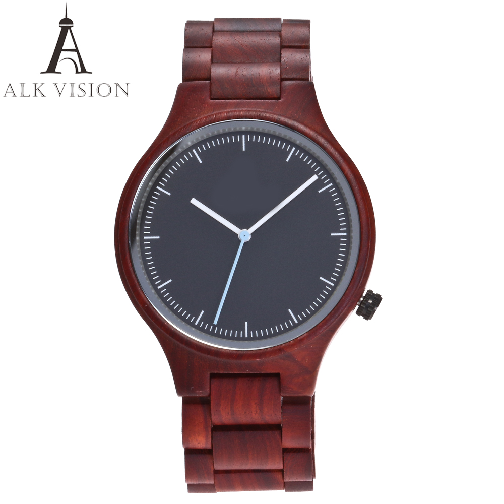 ALK VISION Top Brand Designer Men And Women Wood Watch Red Sandal Wooden Quartz Watches Fashion Casual Clock Relogio Masculino