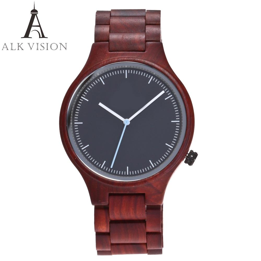 ALK VISION Top Brand Designer Men And Women Wood Watch Red Sandal Wooden Quartz Watches Fashion Casual Clock Relogio Masculino