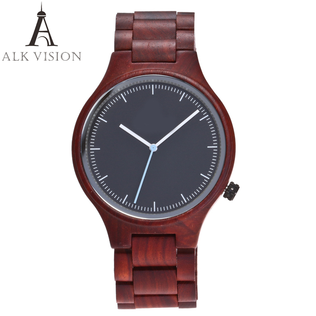 ALK VISION Top Brand Designer Men and Women Wood Watch Red sandal Wooden Quartz
