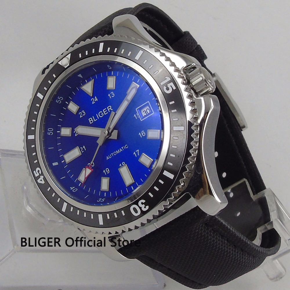 Classic BLIGER 44mm Blue Dial Black Ceramic Bezel Steel Case Luminous Marks Date Display Automatic Movement Mens Watch B124Classic BLIGER 44mm Blue Dial Black Ceramic Bezel Steel Case Luminous Marks Date Display Automatic Movement Mens Watch B124