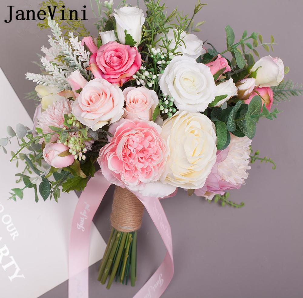 JaneVini Style occidental Bouquet de mariée artificielle bleu violet soie Rose fleurs de mariage mariée Bouquets ruban dentelle vert feuilles