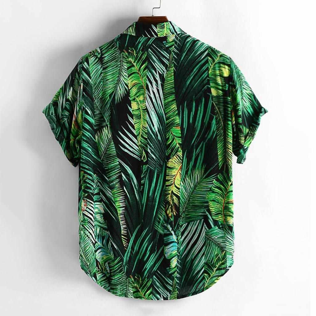 Pria Musim Panas Gaya Cetak Pantai Hawaii Hijau Kemeja Casual Pria Lengan Pendek Hawaii Kemeja Camisa Masculina Pria Kemeja