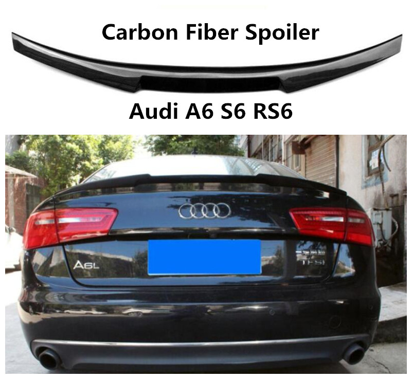 Carbon Fiber Spoiler For Audi A6 S6 RS6 2012 13 14 15 16 17 18 2019 High Quality Spoilers Auto Accessories By EMS image