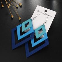 Boho Indian Woman Hollow Rhombus Long Earrings For Women Jewelry Three layers Wood Big Earings