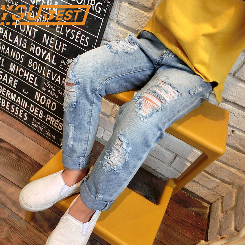 Baby Boys Girls Hole Pants Baby Boys & Girls Ripped Jeans New 2017 Trend Denim Trousers For Kids Children Distrressed Trousers 2017 winter light wash boys jeans for boys solid warm thicken children s jeans boys pants ripped hole children fashion jeans