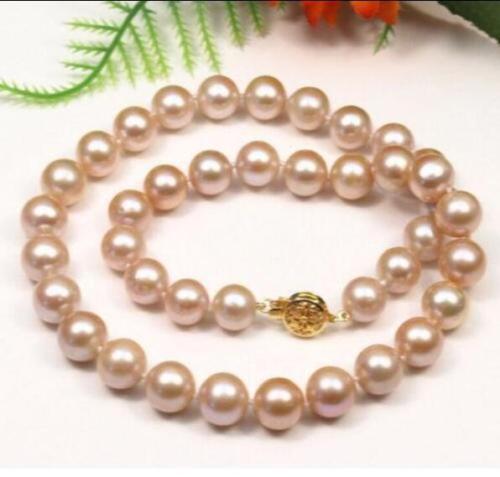 Ashion 10-11 MM naturel rose mer du sud collier de perles 18