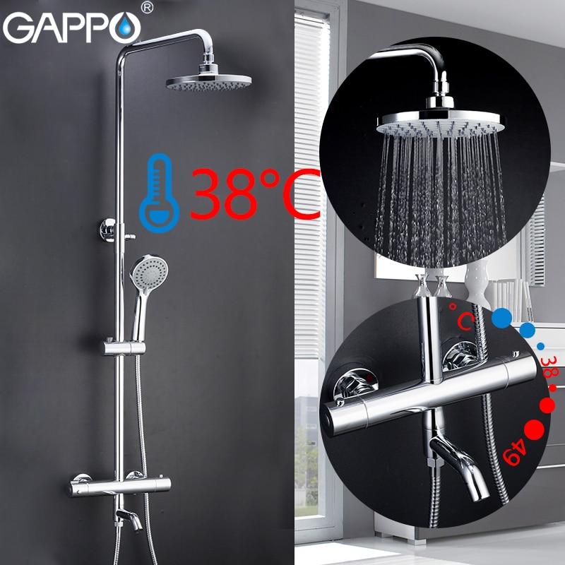 lowest price GAPPO shower system black bathroom shower set bath shower mixers waterfall thermostatic mixer tap rain bathtub faucets