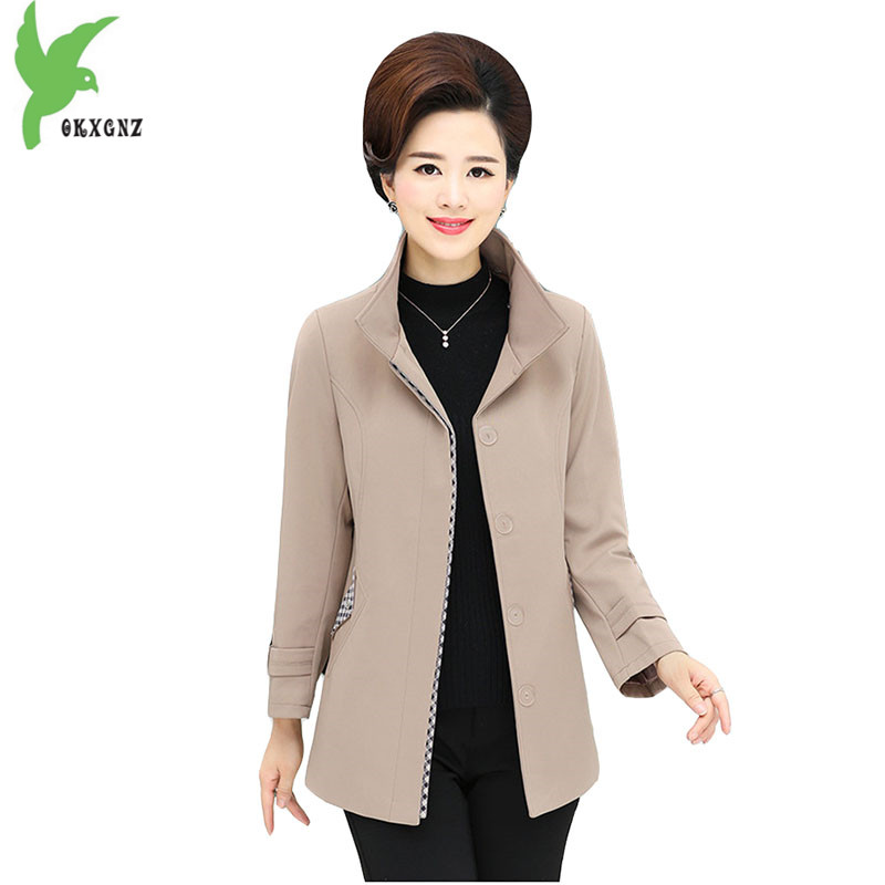 New Spring Women   Trench   Middle-aged Mother Costume Casual Tops Solid Color Hooded Outerwear Plus Size 5XL Short Coat OKXGNZ A635