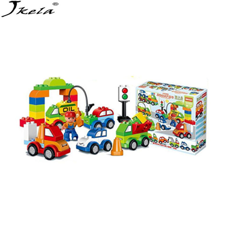 New Large particles Changeable car Model toys 52Pcs Dino Education Toys For Kids DIY Kid Toy Compatible with Legoingly Duplo kid s home toys large particles happy farm animals paradise model building blocks large size diy brick toy compatible with duplo