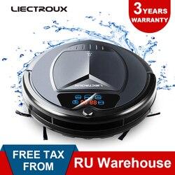 (Доставка из России) LIECTROUX B3000PLUS,робот пылесос с танком для воды (влажная и сухая уборка) сенсорный экран, фильтр HEPA, настройка времени уборки,...