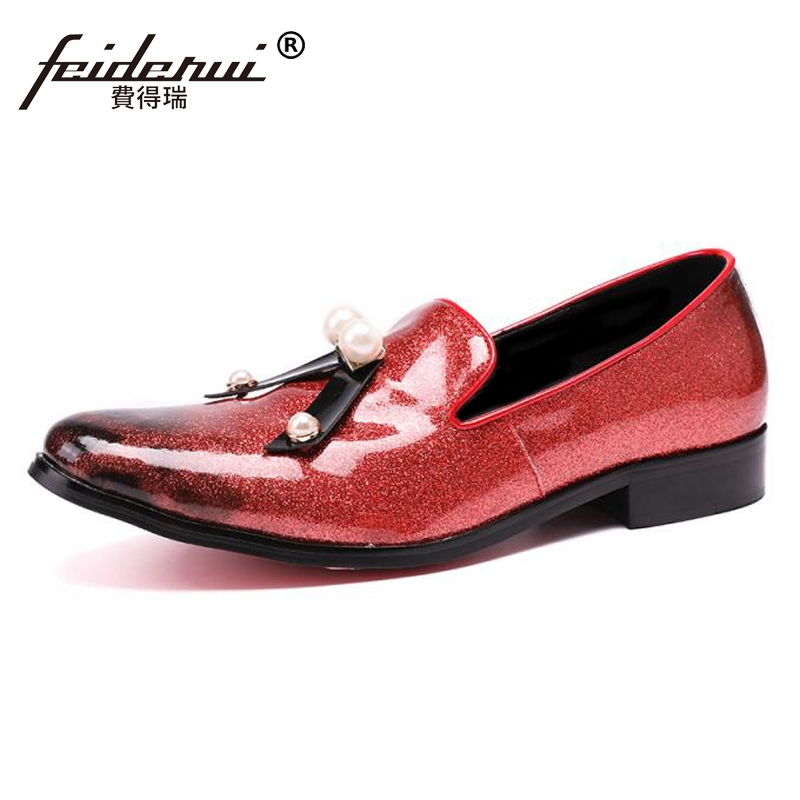 Plus Size Red Round Toe Slip on Rhinestone Man Moccasin Loafers Elegant Patent Leather Wedding Party Mens Casual Shoes SL91Plus Size Red Round Toe Slip on Rhinestone Man Moccasin Loafers Elegant Patent Leather Wedding Party Mens Casual Shoes SL91