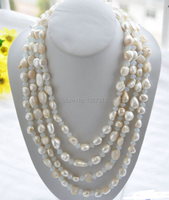 huij 002840 LONG 100 15mm white baroque freshwater pearl faceted opal necklace