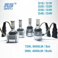 2PCS BinFu D1S D2S LED Bulb Car LED Headlight D1S D1R D2S D2R D3S D3R D4S