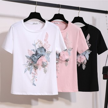 2019 Summer Embroidery Beading Flower T Shirts Women O-Neck Short Sleeve Girl Tops T-shirts Floral Tee Shirt - discount item  24% OFF Tops & Tees