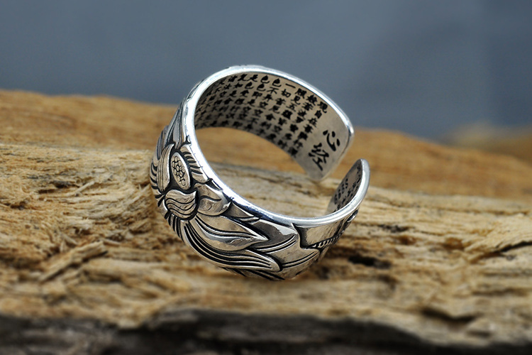925 Silver Lotus Rings Good Luck Buddha Adjustable Size Trendy Popular S925 Solid Thai Silver Ring for Women Men Jewelry 14
