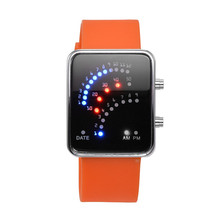 Rectangle Digital LED Watches Silicon Electronic Wristwatches for Women with LED Light High Quality OrangeRed 235x24mm