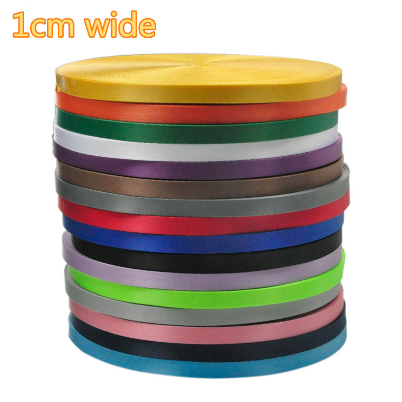 10mm Wide 50meters/lot Pure Color Tabby Imitation Nylon  Webbing For Work Card