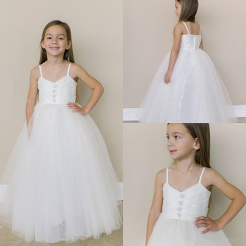 New Cheap Tulle Flower Girl Dress with Zipper Back Crystals Spaghetti Straps Open Back Customized First Communion Gowns For Girl