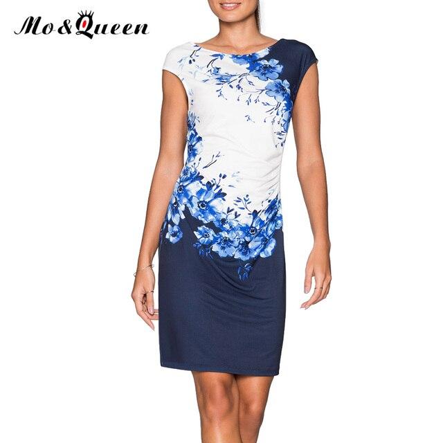 Casual Frauen Kleider 2018 Mode Druck Blaue Blumen Kurze Sommerkleid Frauen  Neue Elegante Polyester Frauen Vestido 22e5d50f42
