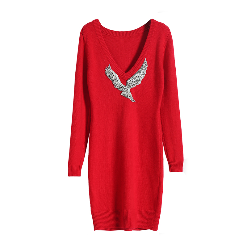 Hohe qualität wolle stricken kleid mode marke cashemere diamant sicken kleid weibliche cartoon muster woolen kleid wq1604 großhandel - 2