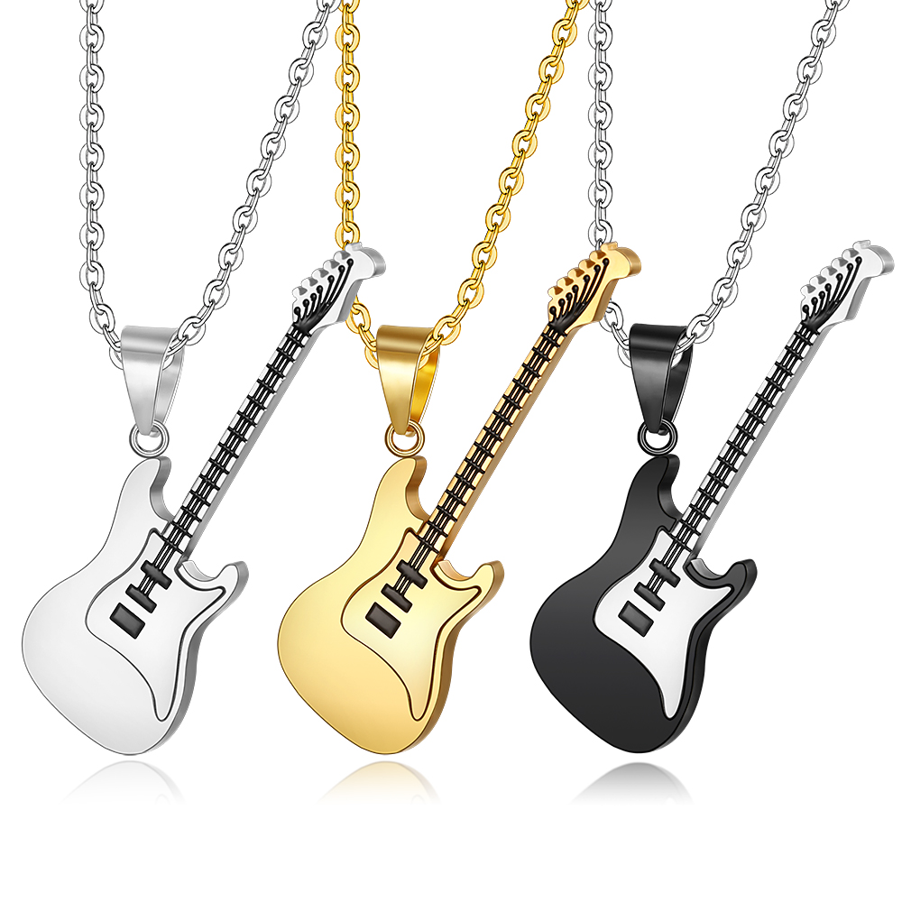 2018 new high quality titanium steel men s gold guitar pendant necklace jewelry Christmas gift