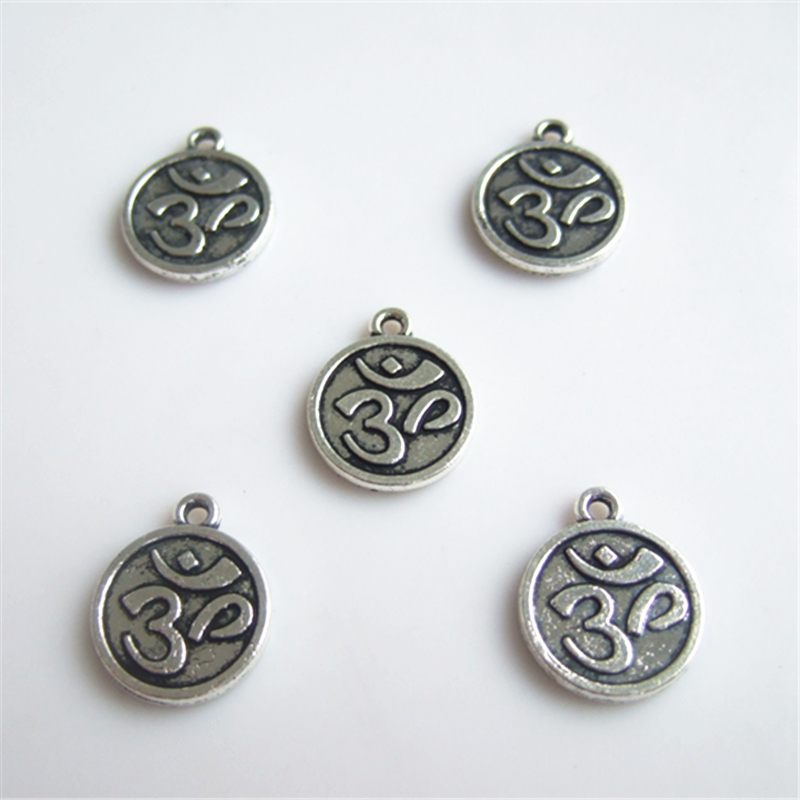 20pcs Antique Silver OM OHM YOGA Symbol Charms Supplies For DIY Jewelry