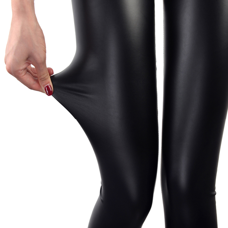 Faux Leather Leggings azul marino mujeres Sexy Leggins fino Calzas Mujer Leggins Leggings elástico Leggins Push Up