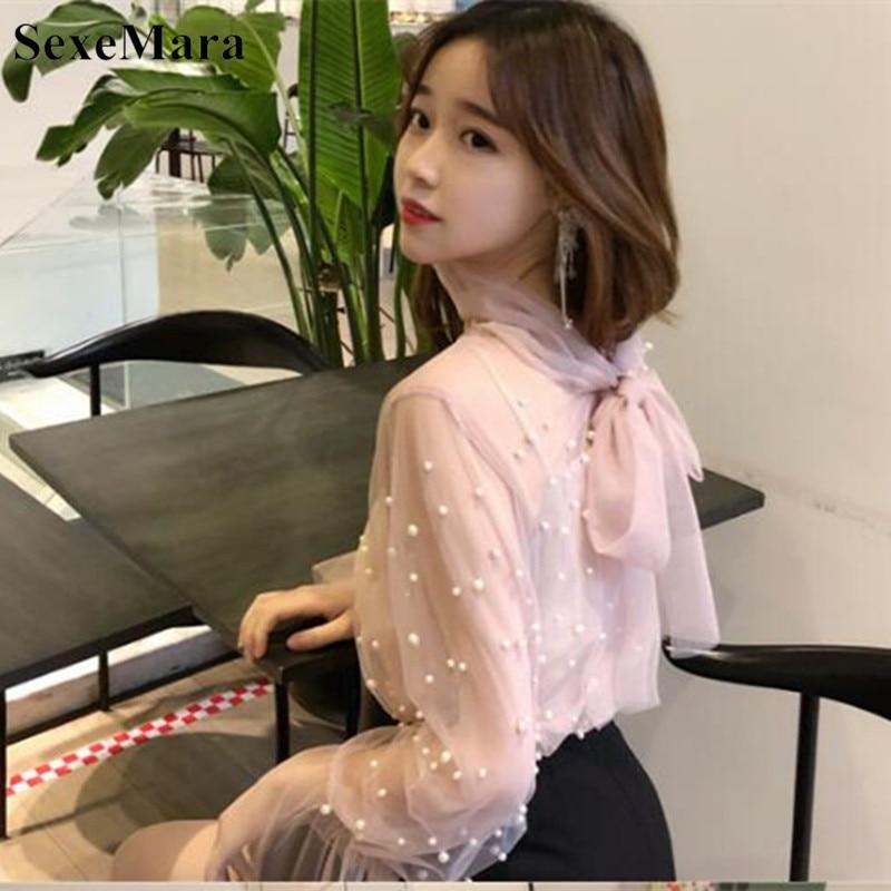 Long Flare Manga Transparente Perla Camisas Mujeres Nuevo Sexy Blusas La 2019 Arco rosado Negro Tops Primavera Corbata Las Mujeres Malla De qtxEwIAf