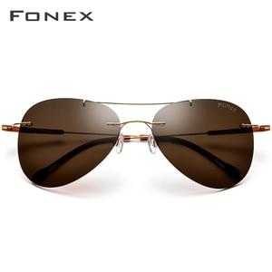 Image 2 - FONEX Titanium Alloy TR90 Rimless Sunglasses Men Ultralight Screwless Women Pilot Aviation Polarized Sun Glasses for Men 851