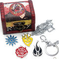 4Pcs/Set Anime RWBY Ruby Rose Symbol Metal Pendants+Necklace+Keychain+Wooden Box Ornament Cosplay Collection Accessories Gift