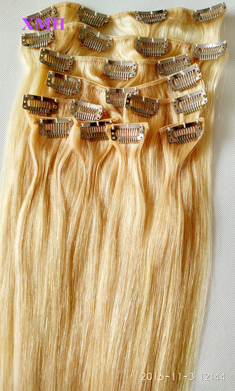 10PCS SET CLIP IN HAIR EXTENSIONS BLONDE COLOR